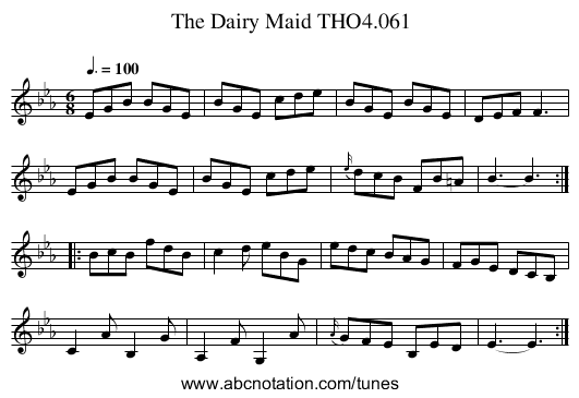 Dairy Maid THO4.061, The - staff notation