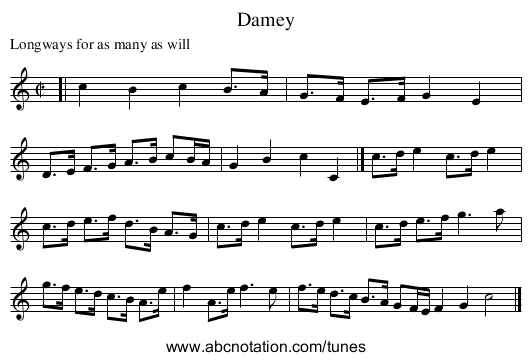 Damey - staff notation
