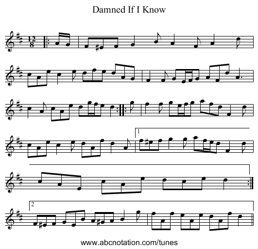 Damned If I Know - staff notation