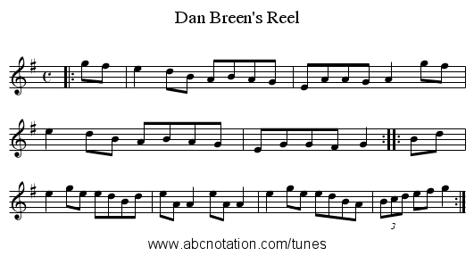 Dan Breen's Reel - staff notation