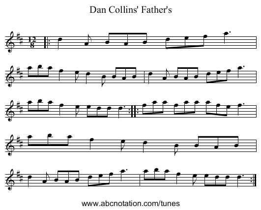 Dan Collins' Father's - staff notation