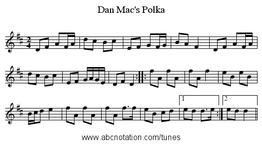 Dan Mac's Polka - staff notation