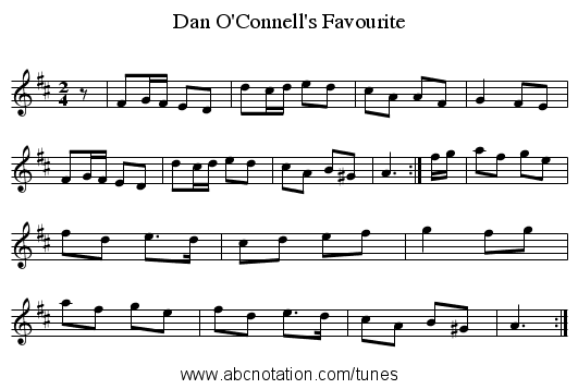 Dan O'Connell's Favourite - staff notation