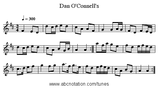 Dan O'Connell's - staff notation