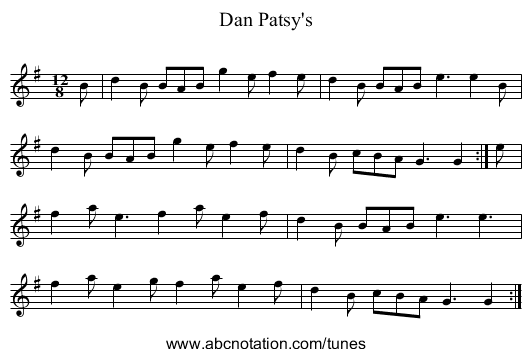 Dan Patsy's - staff notation