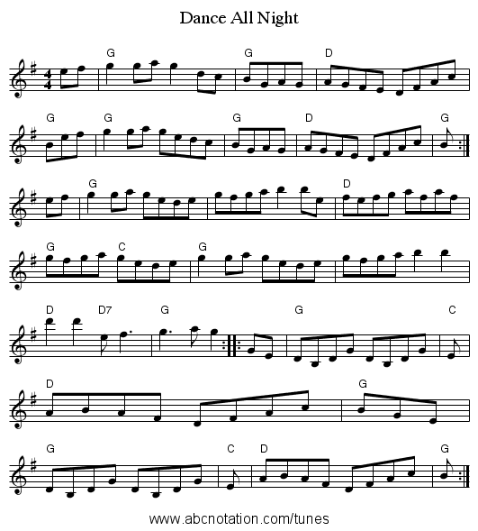 Dance All Night - staff notation