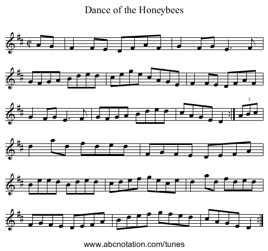 Dance of the Honeybees - staff notation