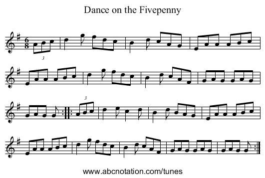 Dance on the Fivepenny - staff notation