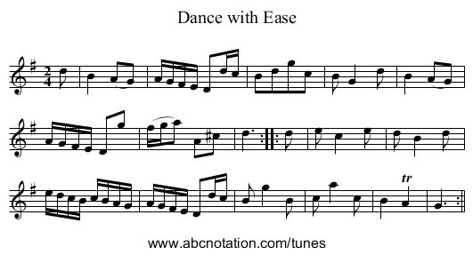 Dance with Ease - staff notation