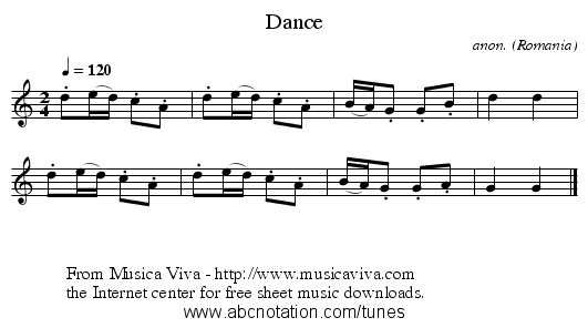 Dance - staff notation