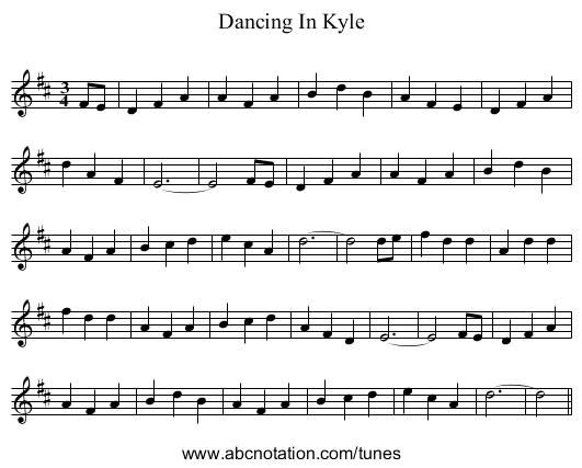 Dancing In Kyle - staff notation