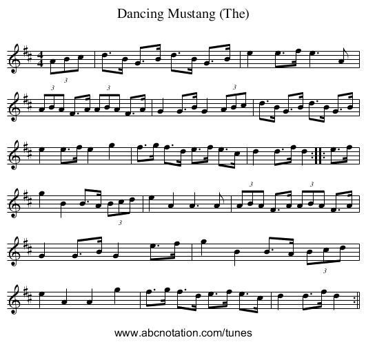 Dancing Mustang (The) - staff notation