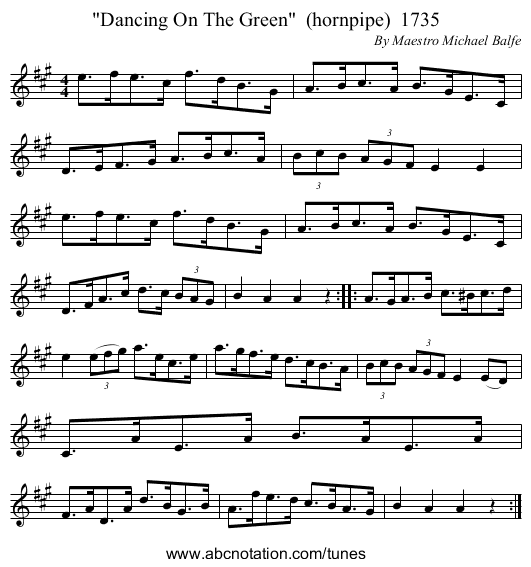 Dancing On The Green  (hornpipe)  1735 - staff notation