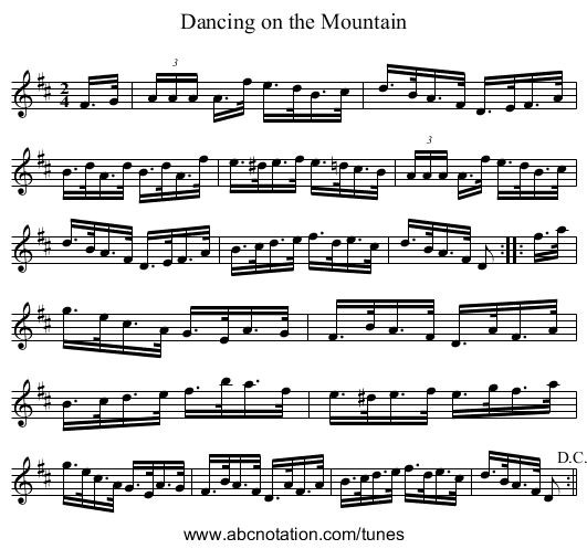 Dancing on the Mountain - staff notation