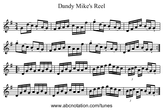 Dandy Mike's Reel - staff notation