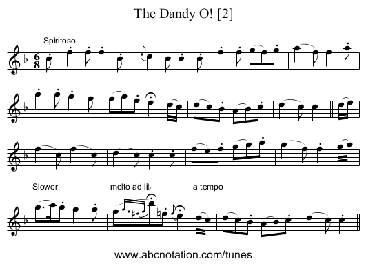 Dandy O! [2], The - staff notation