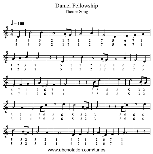 Daniel Fellowship - staff notation