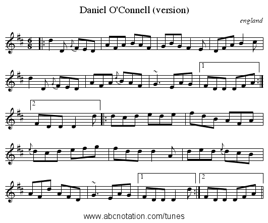 Daniel O'Connell (version) - staff notation