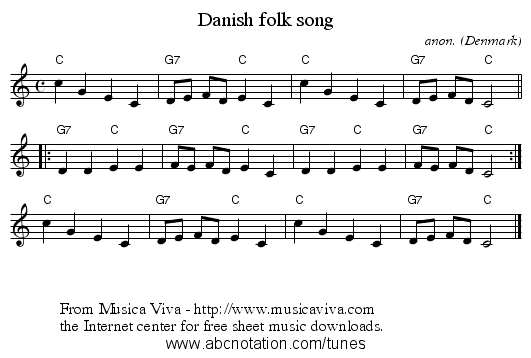 Danish folk song - staff notation