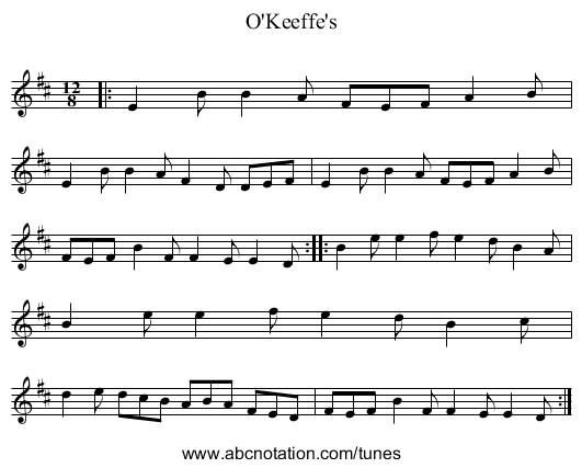 Danny Ab O'Keefe's - staff notation