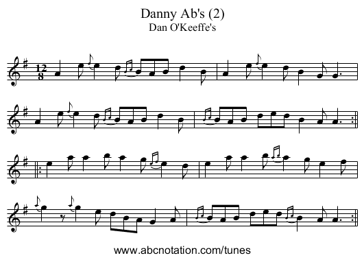 Danny Ab's (2) - staff notation