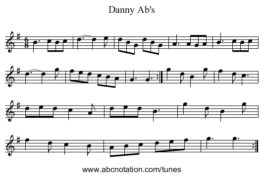 Danny Ab's - staff notation