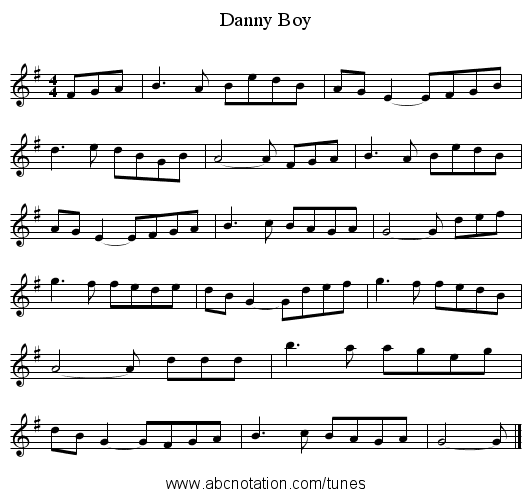 Danny Boy - staff notation