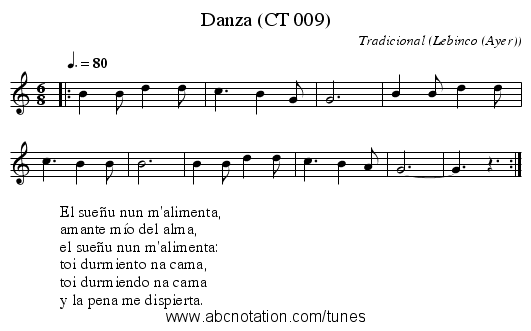 Danza (CT 009) - staff notation