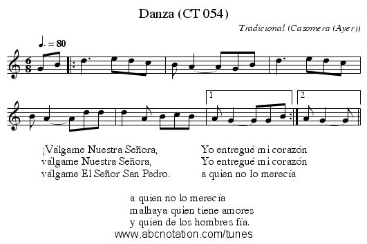 Danza (CT 054) - staff notation