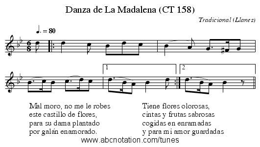 Danza de La Madalena (CT 158) - staff notation