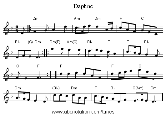Daphne - staff notation