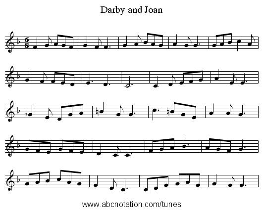 Darby and Joan - staff notation