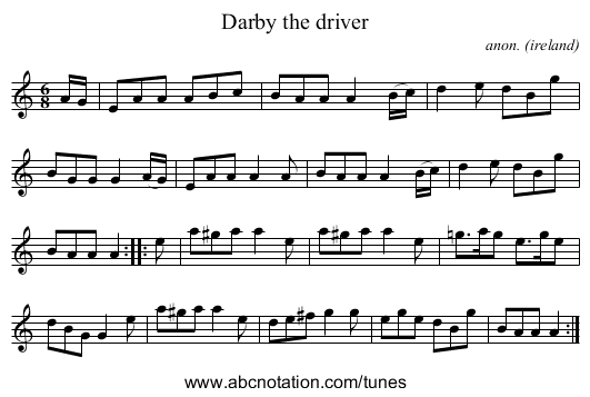 Darby the driver - staff notation