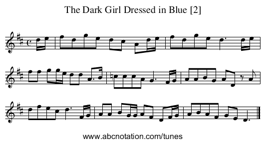 Dark Girl Dressed in Blue [2], The - staff notation