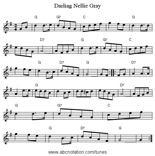 Darling Nellie Gray - staff notation