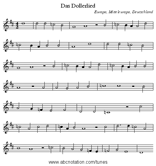 Das Dollerlied - staff notation