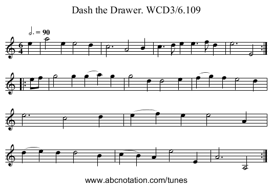 Dash the Drawer. WCD3/6.109 - staff notation