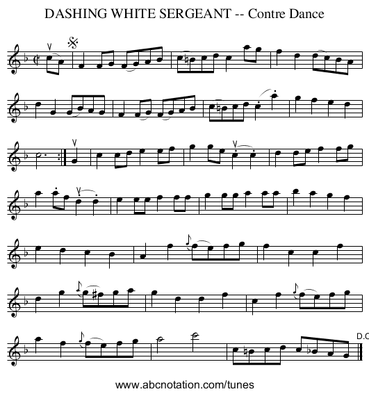 DASHING WHITE SERGEANT -- Contre Dance - staff notation