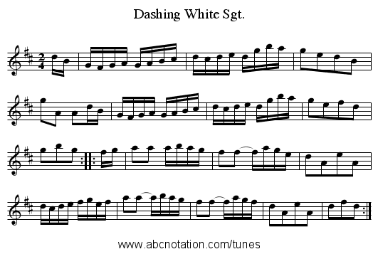 Dashing White Sgt. - staff notation