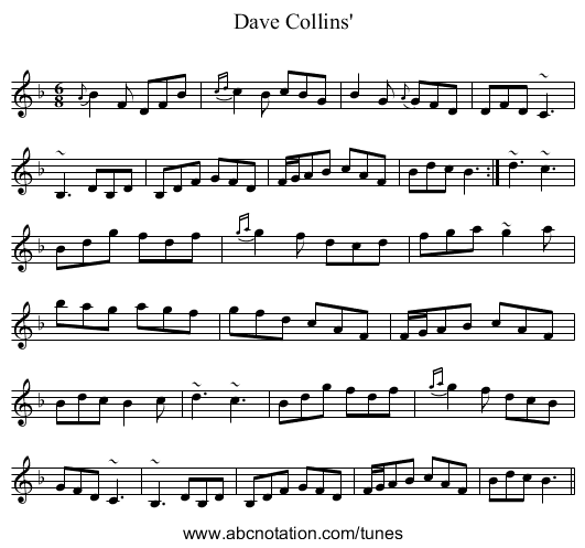 Dave Collins' - staff notation
