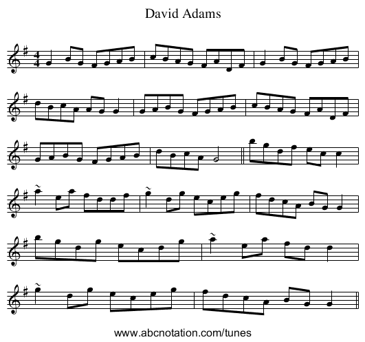 David Adams - staff notation