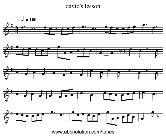 david's lesson - staff notation