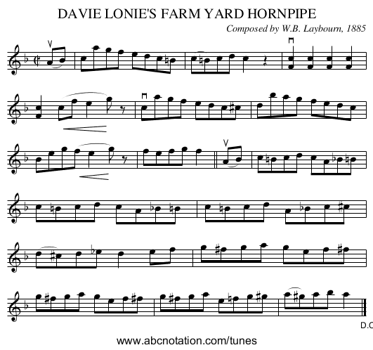 DAVIE LONIE'S FARM YARD HORNPIPE - staff notation