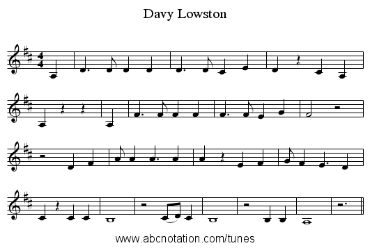 Davy Lowston - staff notation