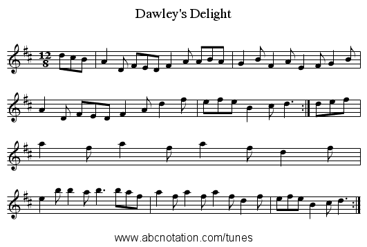 Dawley's Delight - staff notation