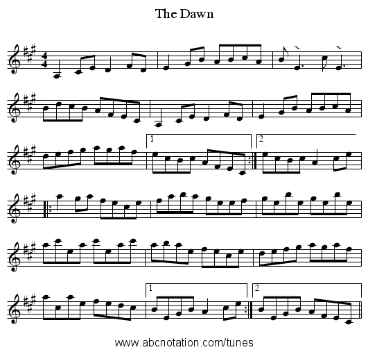 Dawn, The - staff notation