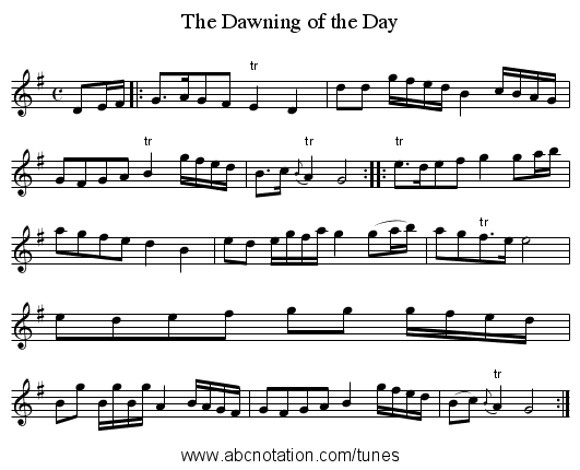 Dawning of the Day, The - staff notation