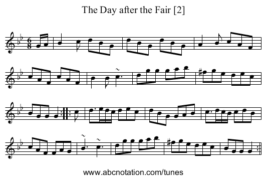 Day after the Fair [2], The - staff notation