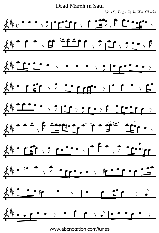 Dead March in Saul - staff notation