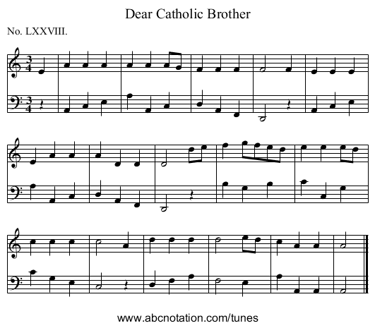 Dear Catholic Brother - staff notation